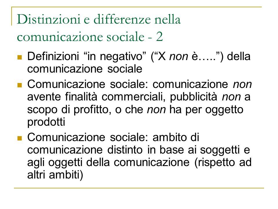 Comunicazione sociale e comunicazione di pubblica utilità: i soggetti e gli oggetti della comunicazione sociale Testo di riferimento: Gadotti, G.