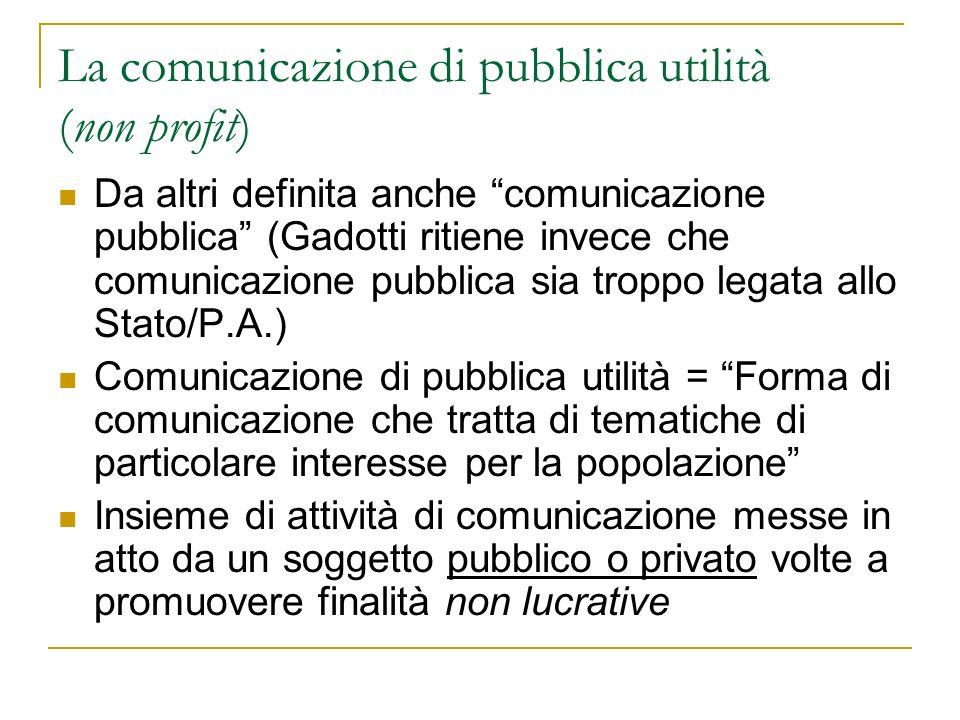 Classificazione in base ai soggetti Chi fa comunicazione di pubblica utilità.