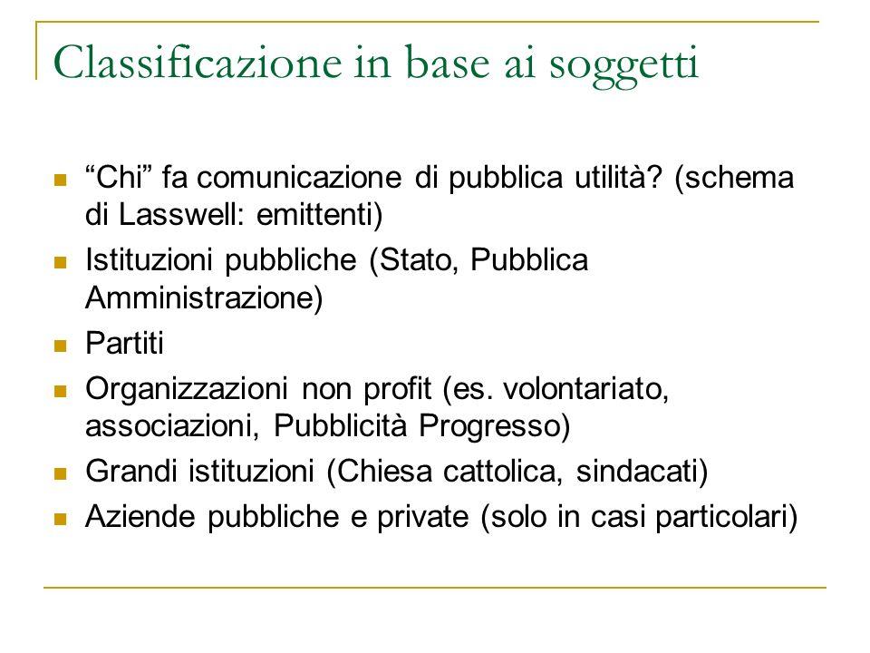 Classificazione in base alloggetto - 1 Su che cosa comunicano i soggetti della comunicazione di pubblica utilità.