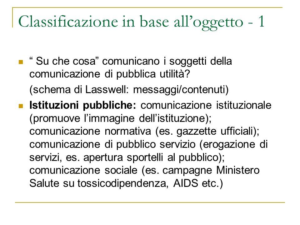 Classificazione in base alloggetto - 2 Partiti: comunicazione politica (es.