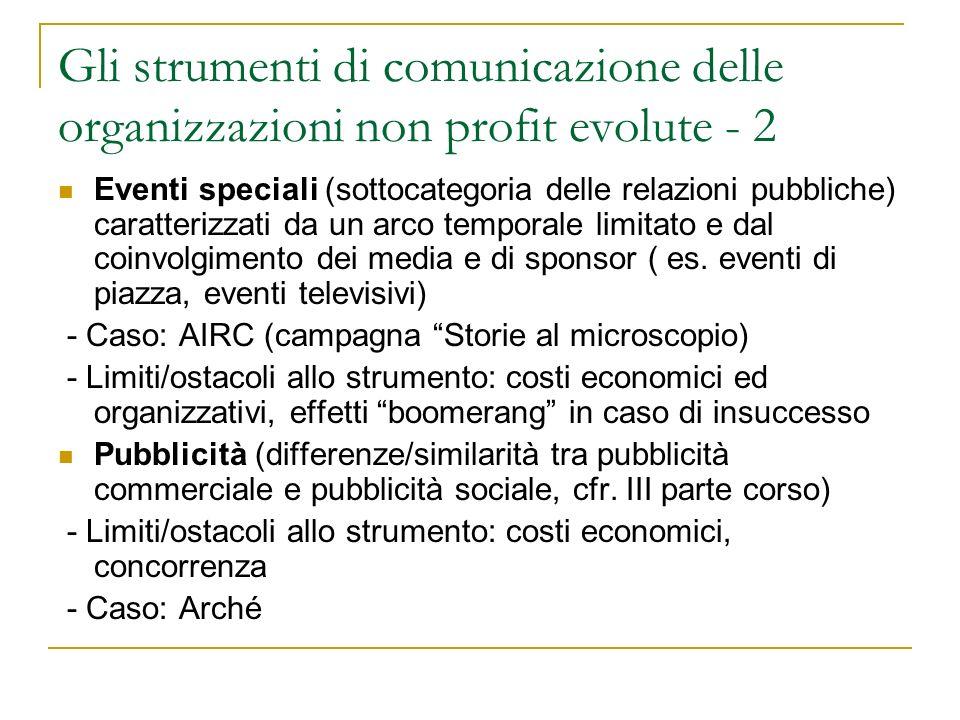 Gli strumenti di comunicazione delle organizzazioni non profit evolute - 2 Eventi speciali (sottocategoria delle relazioni pubbliche) caratterizzati d