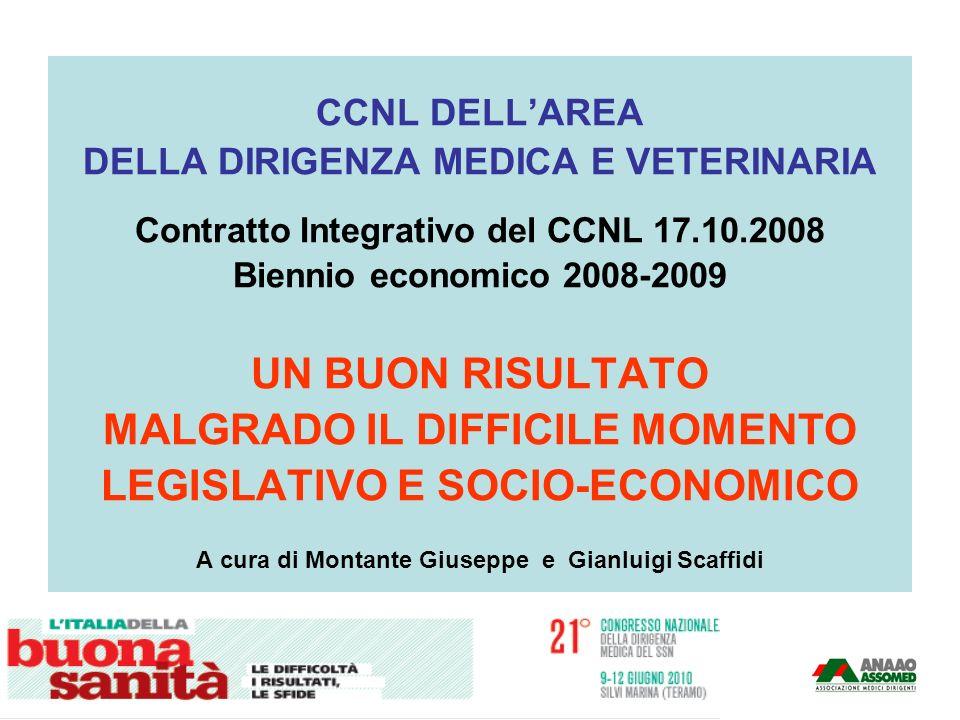 CCNL DELLAREA DELLA DIRIGENZA MEDICA E VETERINARIA Contratto Integrativo del CCNL 17.10.2008 Biennio economico 2008-2009 UN BUON RISULTATO MALGRADO IL