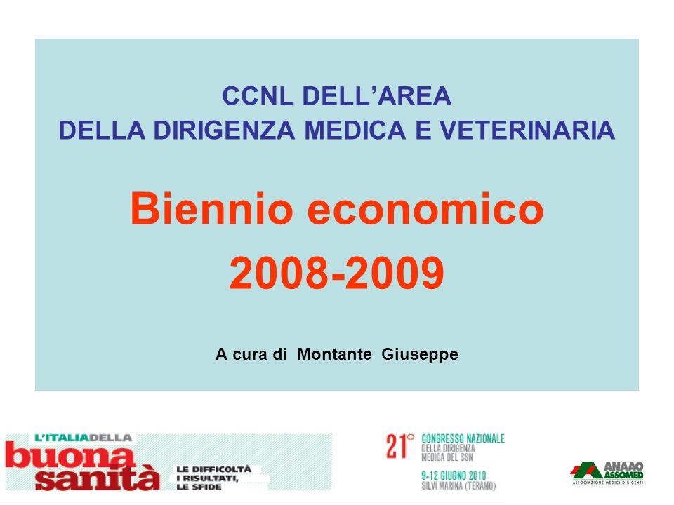 CCNL DELLAREA DELLA DIRIGENZA MEDICA E VETERINARIA Biennio economico 2008-2009 A cura di Montante Giuseppe