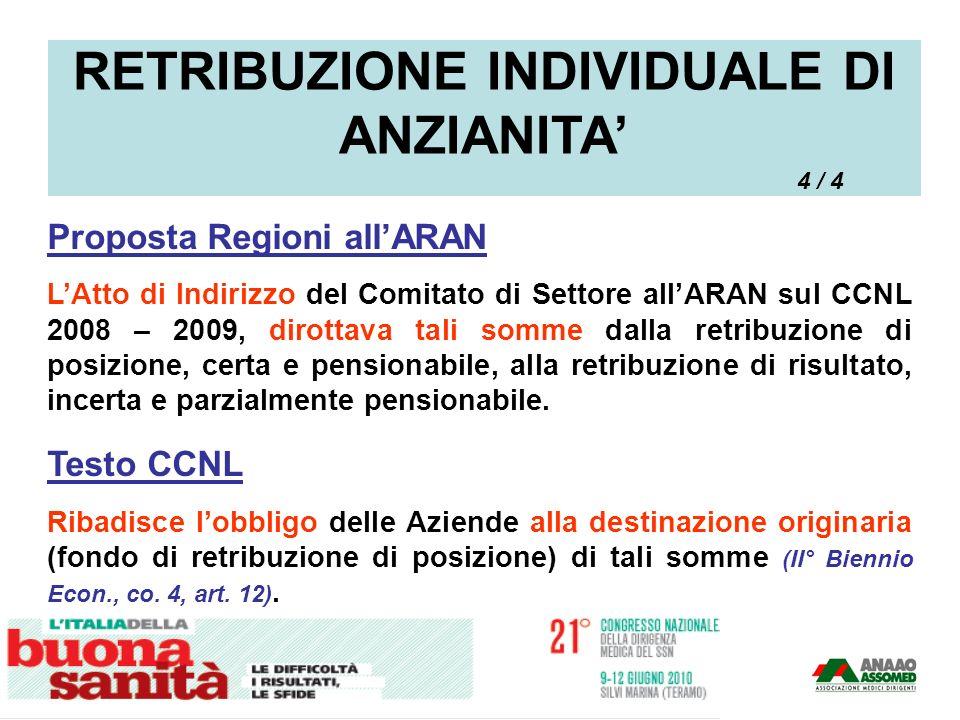 Proposta Regioni allARAN LAtto di Indirizzo del Comitato di Settore allARAN sul CCNL 2008 – 2009, dirottava tali somme dalla retribuzione di posizione