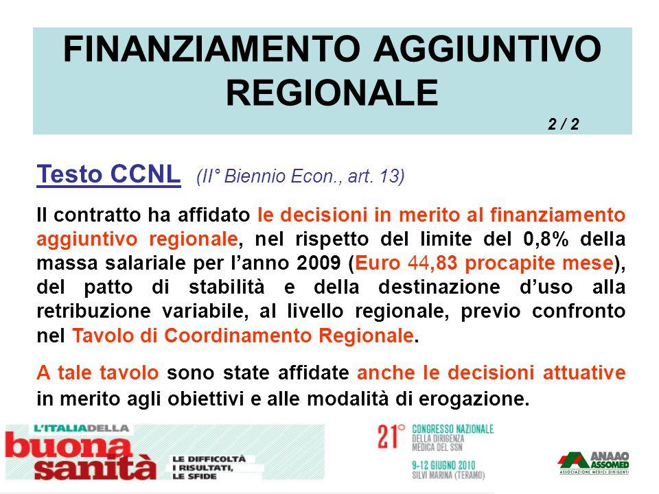 Testo CCNL (II° Biennio Econ., art. 13) Il contratto ha affidato le decisioni in merito al finanziamento aggiuntivo regionale, nel rispetto del limite