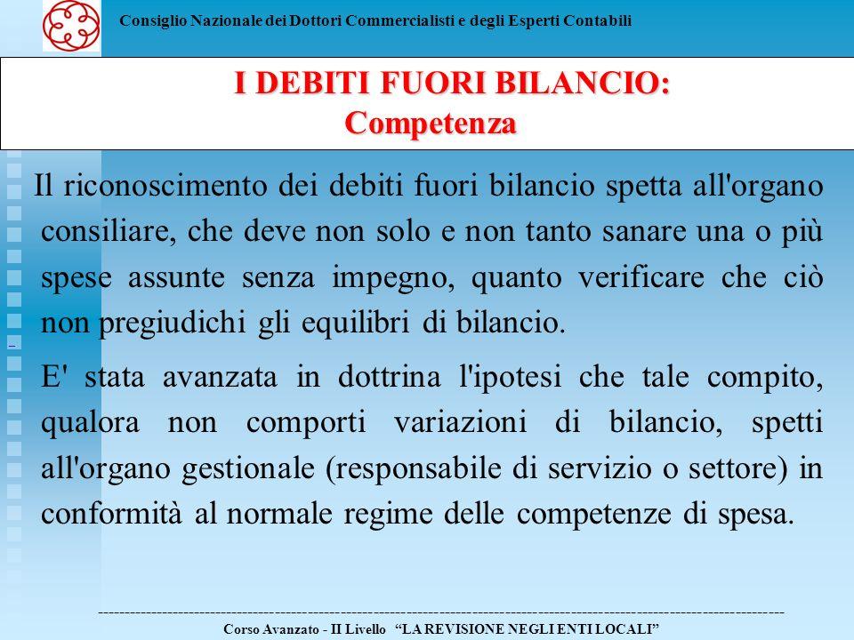 Consiglio Nazionale dei Dottori Commercialisti e degli Esperti Contabili Il riconoscimento dei debiti fuori bilancio spetta all'organo consiliare, che