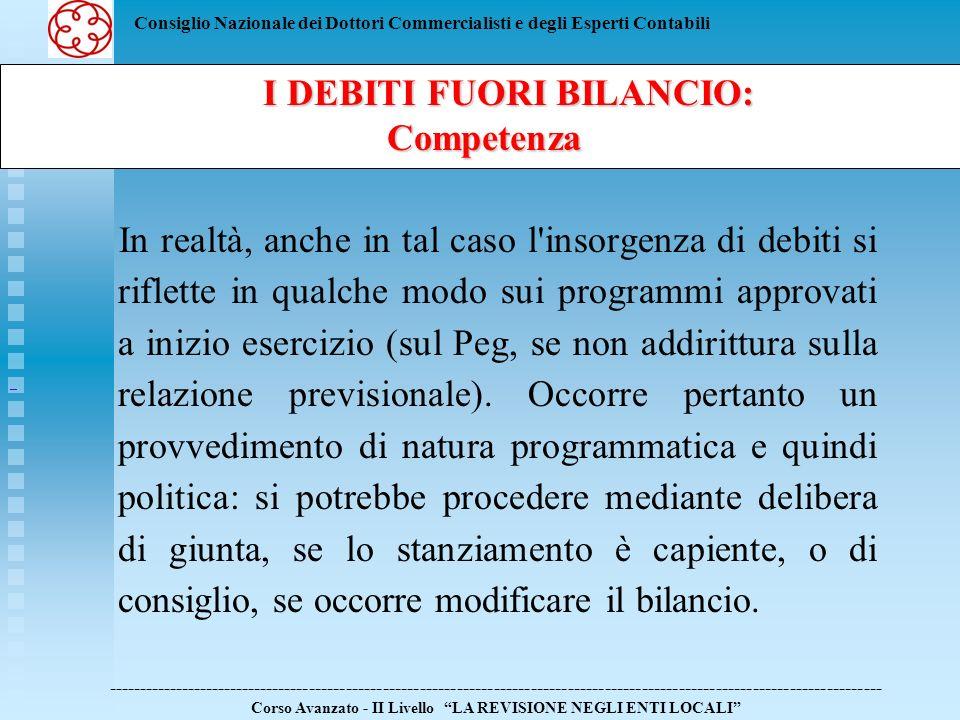 Consiglio Nazionale dei Dottori Commercialisti e degli Esperti Contabili In realtà, anche in tal caso l'insorgenza di debiti si riflette in qualche mo