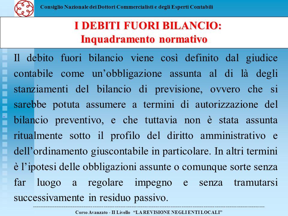 Consiglio Nazionale dei Dottori Commercialisti e degli Esperti Contabili I DEBITI FUORI BILANCIO: I DEBITI FUORI BILANCIO: Inquadramento normativo ---