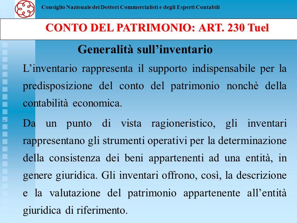 Consiglio Nazionale dei Dottori Commercialisti e degli Esperti Contabili CONTO DEL PATRIMONIO: ART. 230 Tuel CONTO DEL PATRIMONIO: ART. 230 Tuel Gener