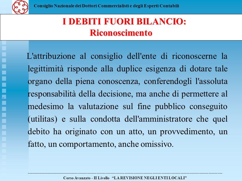 Consiglio Nazionale dei Dottori Commercialisti e degli Esperti Contabili I DEBITI FUORI BILANCIO: I DEBITI FUORI BILANCIO:Riconoscimento -------------