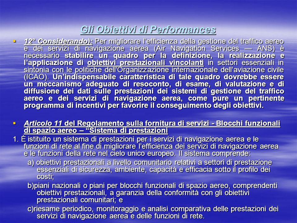 Gli Obiettivi di Performances 12° Considerando): Per migliorare lefficienza della gestione del traffico aereo e dei servizi di navigazione aerea (Air