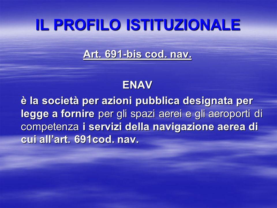 IL PROFILO ISTITUZIONALE Art. 691-bis cod. nav. ENAV è la società per azioni pubblica designata per legge a fornire per gli spazi aerei e gli aeroport