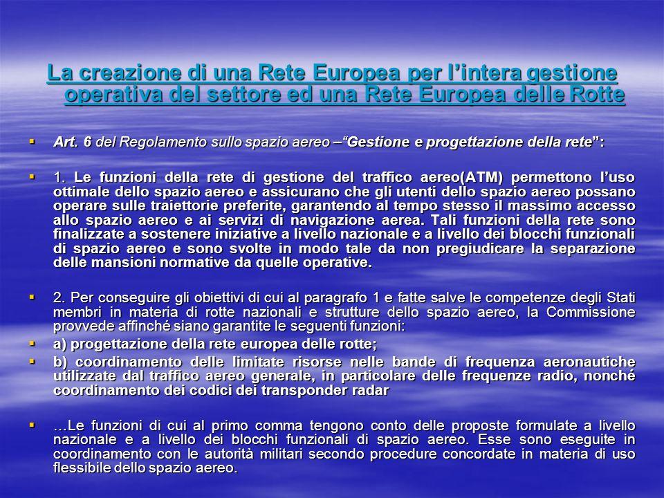 La creazione di una Rete Europea per lintera gestione operativa del settore ed una Rete Europea delle Rotte Art. 6 del Regolamento sullo spazio aereo