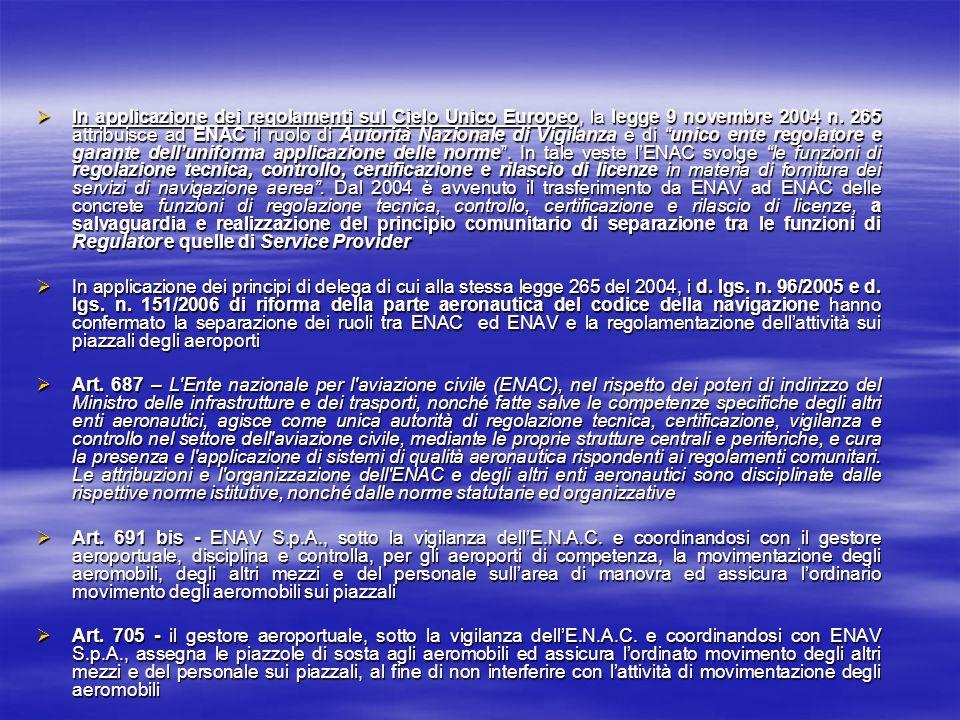 In applicazione dei regolamenti sul Cielo Unico Europeo, la legge 9 novembre 2004 n. 265 attribuisce ad ENAC il ruolo di Autorità Nazionale di Vigilan