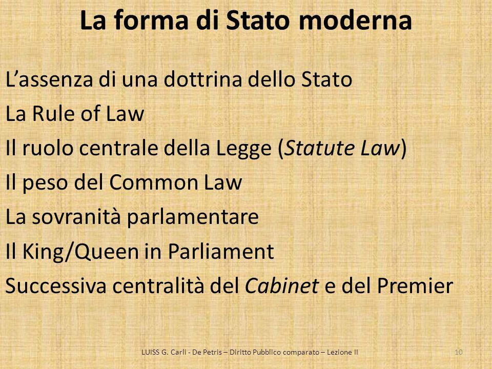 La forma di Stato moderna Lassenza di una dottrina dello Stato La Rule of Law Il ruolo centrale della Legge (Statute Law) Il peso del Common Law La so