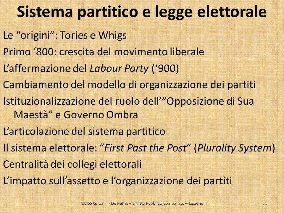 Sistema partitico e legge elettorale Le origini: Tories e Whigs Primo 800: crescita del movimento liberale Laffermazione del Labour Party (900) Cambia