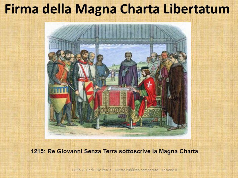 Firma della Magna Charta Libertatum LUISS G. Carli - De Petris – Diritto Pubblico comparato – Lezione II7 1215: Re Giovanni Senza Terra sottoscrive la