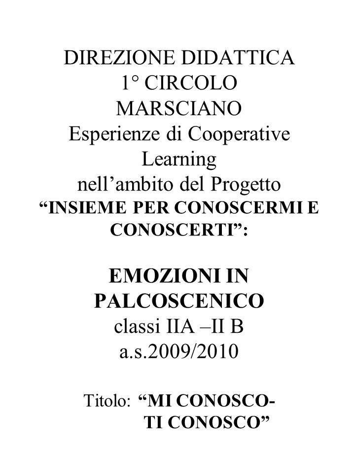 DIREZIONE DIDATTICA 1° CIRCOLO MARSCIANO Esperienze di Cooperative Learning nellambito del Progetto INSIEME PER CONOSCERMI E CONOSCERTI: EMOZIONI IN P