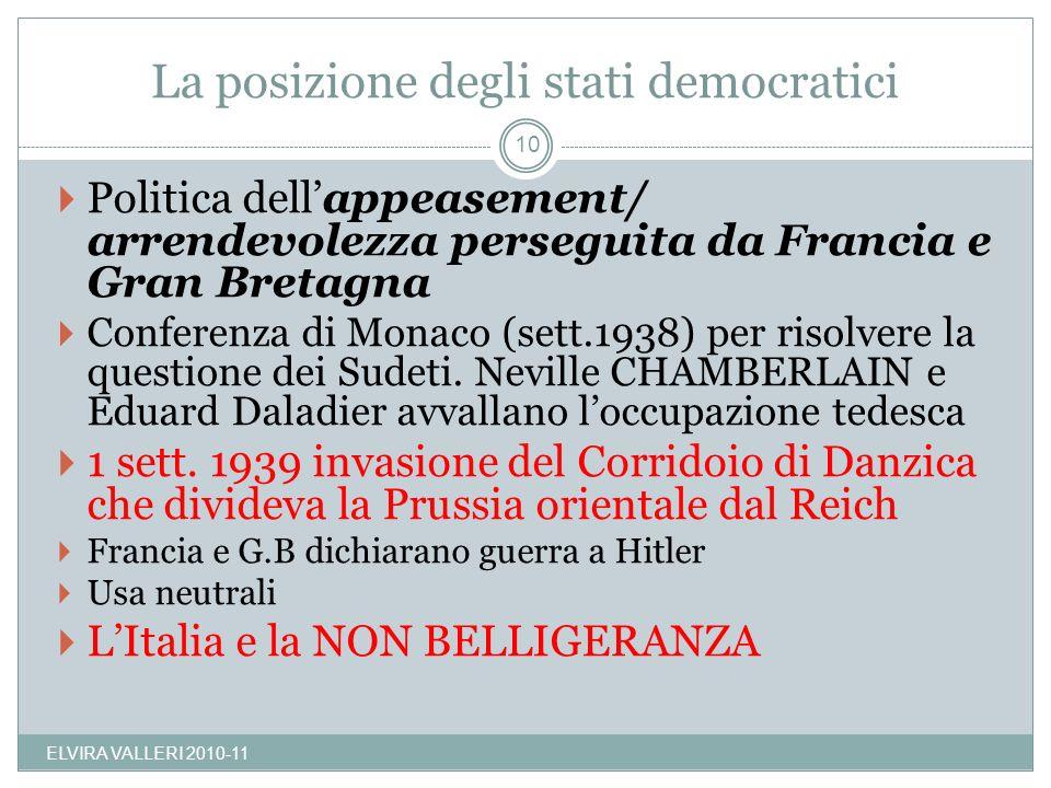 La posizione degli stati democratici ELVIRA VALLERI 2010-11 10 Politica dellappeasement/ arrendevolezza perseguita da Francia e Gran Bretagna Conferen