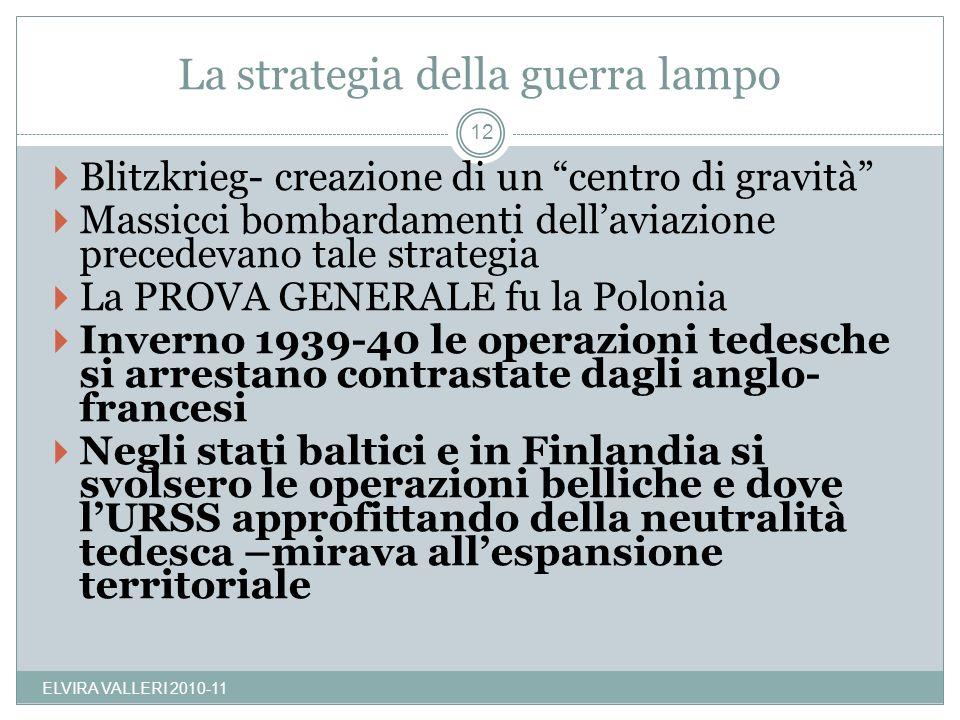 La strategia della guerra lampo ELVIRA VALLERI 2010-11 12 Blitzkrieg- creazione di un centro di gravità Massicci bombardamenti dellaviazione precedeva