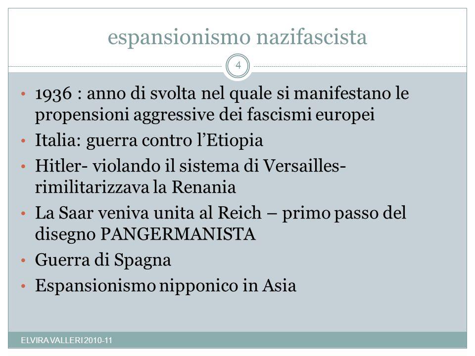 espansionismo nazifascista ELVIRA VALLERI 2010-11 4 1936 : anno di svolta nel quale si manifestano le propensioni aggressive dei fascismi europei Ital