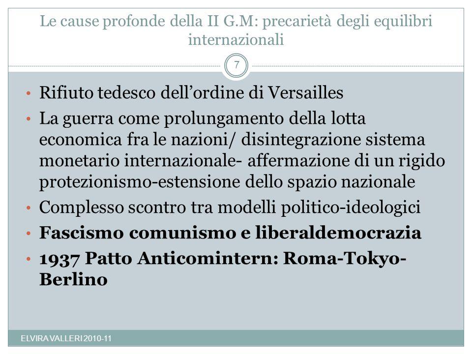 Le cause profonde della II G.M: precarietà degli equilibri internazionali ELVIRA VALLERI 2010-11 7 Rifiuto tedesco dellordine di Versailles La guerra
