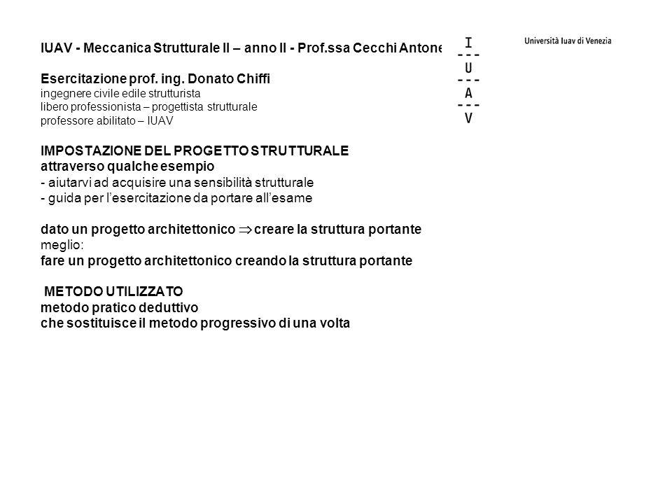 IUAV - Meccanica Strutturale II – anno II - Prof.ssa Cecchi Antonella Esercitazione prof. ing. Donato Chiffi ingegnere civile edile strutturista liber