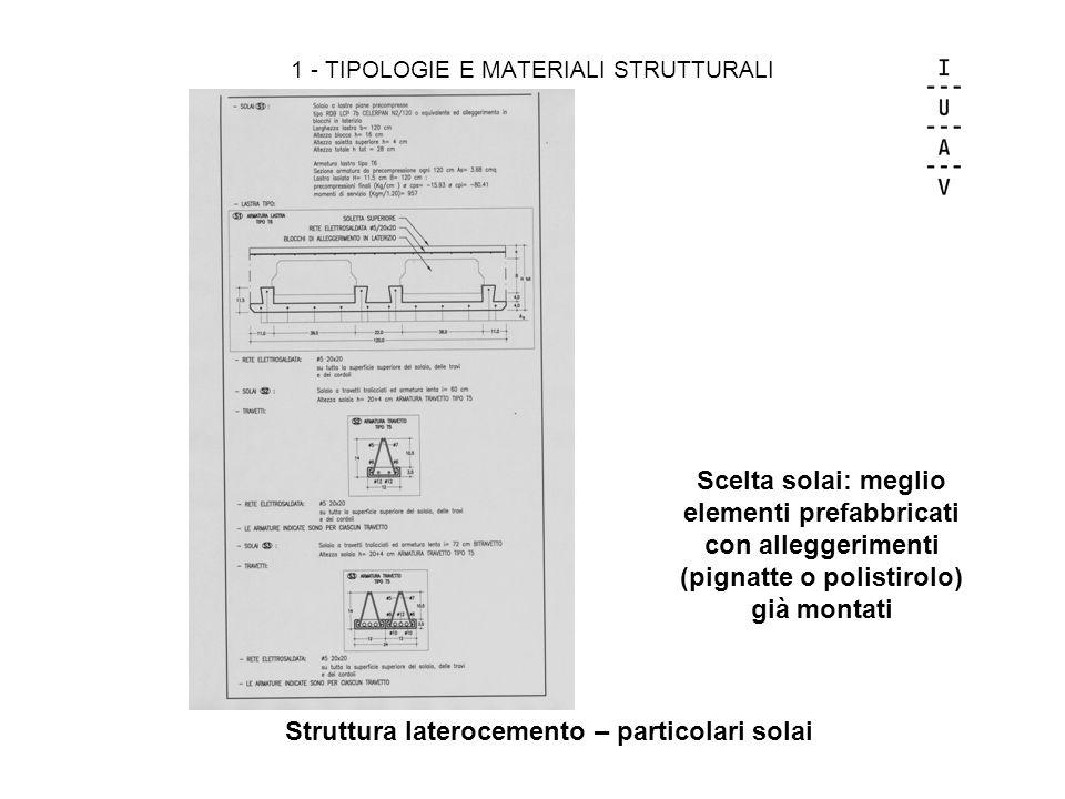 1 - TIPOLOGIE E MATERIALI STRUTTURALI Struttura laterocemento – particolari solai Scelta solai: meglio elementi prefabbricati con alleggerimenti (pign