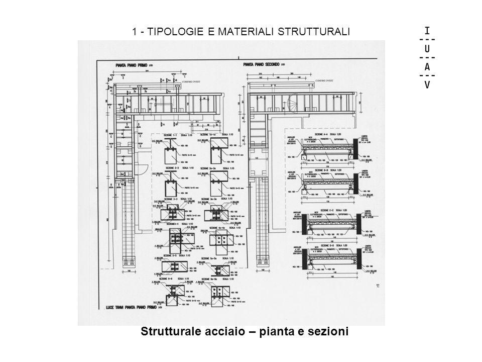 1 - TIPOLOGIE E MATERIALI STRUTTURALI Strutturale acciaio – pianta e sezioni