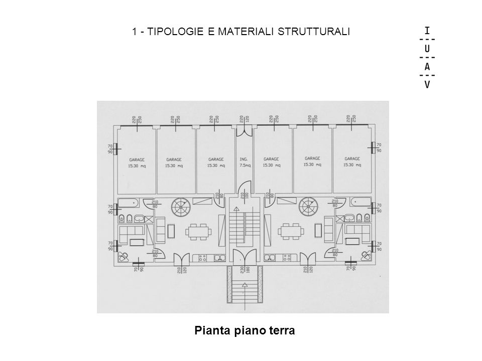1 - TIPOLOGIE E MATERIALI STRUTTURALI Pianta piano terra