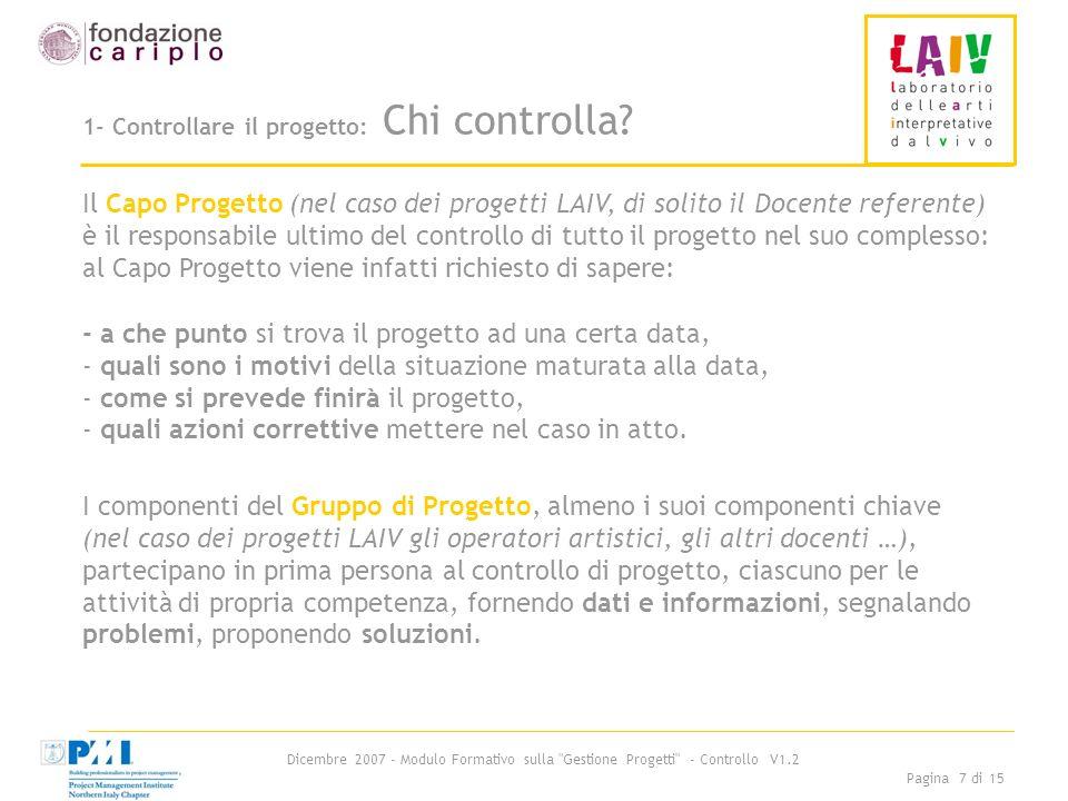 Dicembre 2007 - Modulo Formativo sulla Gestione Progetti - Controllo V1.2 Pagina 7 di 15 1- Controllare il progetto: Chi controlla.