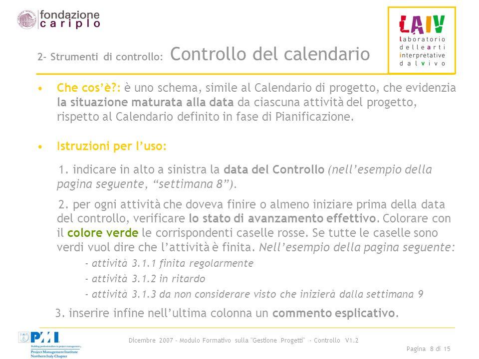 Dicembre 2007 - Modulo Formativo sulla Gestione Progetti - Controllo V1.2 Pagina 8 di 15 2- Strumenti di controllo: Controllo del calendario Che cosè : è uno schema, simile al Calendario di progetto, che evidenzia la situazione maturata alla data da ciascuna attività del progetto, rispetto al Calendario definito in fase di Pianificazione.