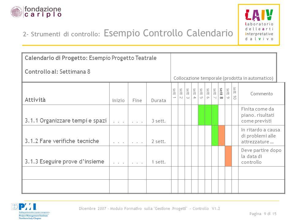Dicembre 2007 - Modulo Formativo sulla Gestione Progetti - Controllo V1.2 Pagina 10 di 15 2- Strumenti di controllo: Rapporto di avanzamento Che cosè?: è uno schema riepilogativo che sintetizza la situazione complessiva maturata alla data dallintero progetto.