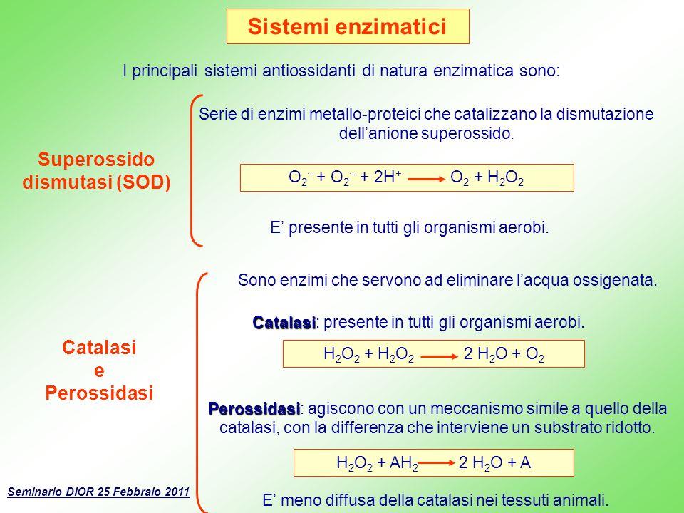 Sistemi enzimatici Catalasi e Perossidasi Superossido dismutasi (SOD) Serie di enzimi metallo-proteici che catalizzano la dismutazione dellanione supe