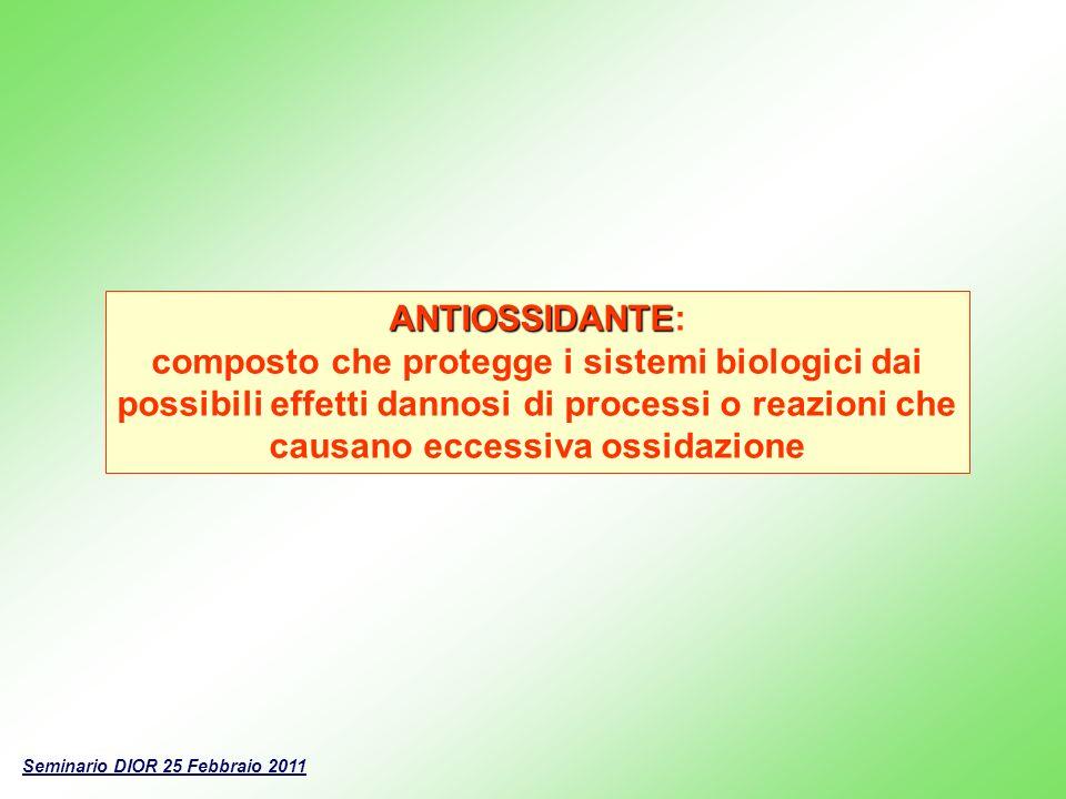 ANTIOSSIDANTE ANTIOSSIDANTE: composto che protegge i sistemi biologici dai possibili effetti dannosi di processi o reazioni che causano eccessiva ossi