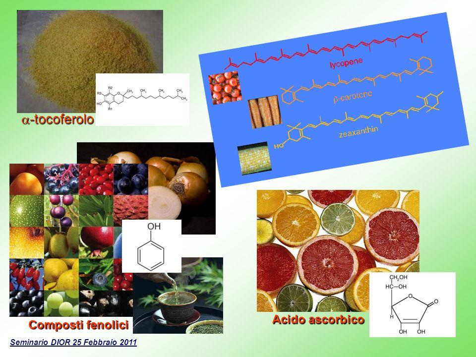 -tocoferolo -tocoferolo Seminario DIOR 25 Febbraio 2011 Composti fenolici Acido ascorbico