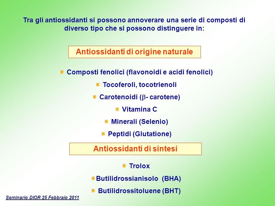 Tra gli antiossidanti si possono annoverare una serie di composti di diverso tipo che si possono distinguere in: Antiossidanti di origine naturale Com