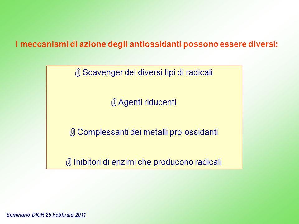 I meccanismi di azione degli antiossidanti possono essere diversi: Scavenger dei diversi tipi di radicali Agenti riducenti Complessanti dei metalli pr