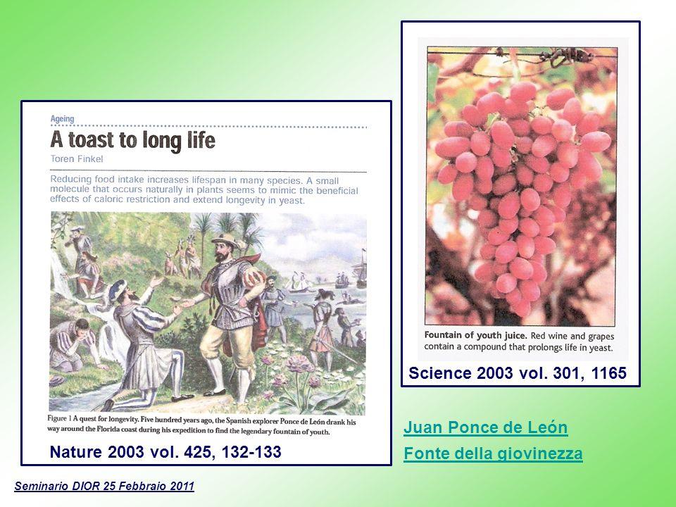 Seminario DIOR 25 Febbraio 2011 Nature 2003 vol. 425, 132-133Science 2003 vol. 301, 1165 Juan Ponce de León Fonte della giovinezza