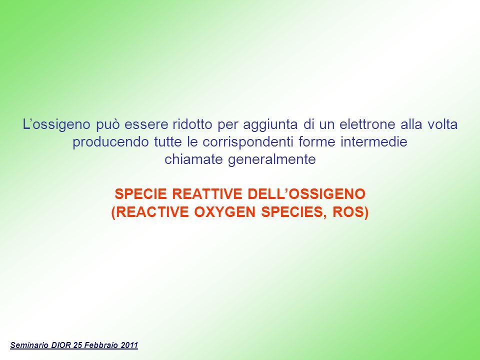 Lossigeno può essere ridotto per aggiunta di un elettrone alla volta producendo tutte le corrispondenti forme intermedie chiamate generalmente SPECIE