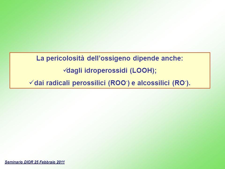 La pericolosità dellossigeno dipende anche: dagli idroperossidi (LOOH); dai radicali perossilici (ROO · ) e alcossilici (RO · ). Seminario DIOR 25 Feb