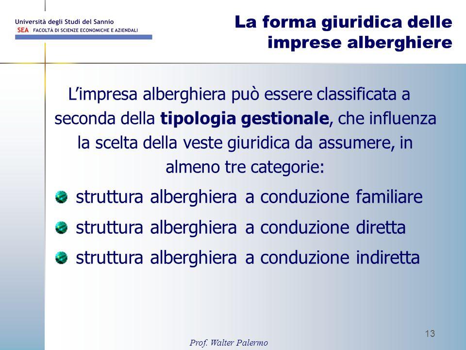 Prof. Walter Palermo 13 La forma giuridica delle imprese alberghiere Limpresa alberghiera può essere classificata a seconda della tipologia gestionale