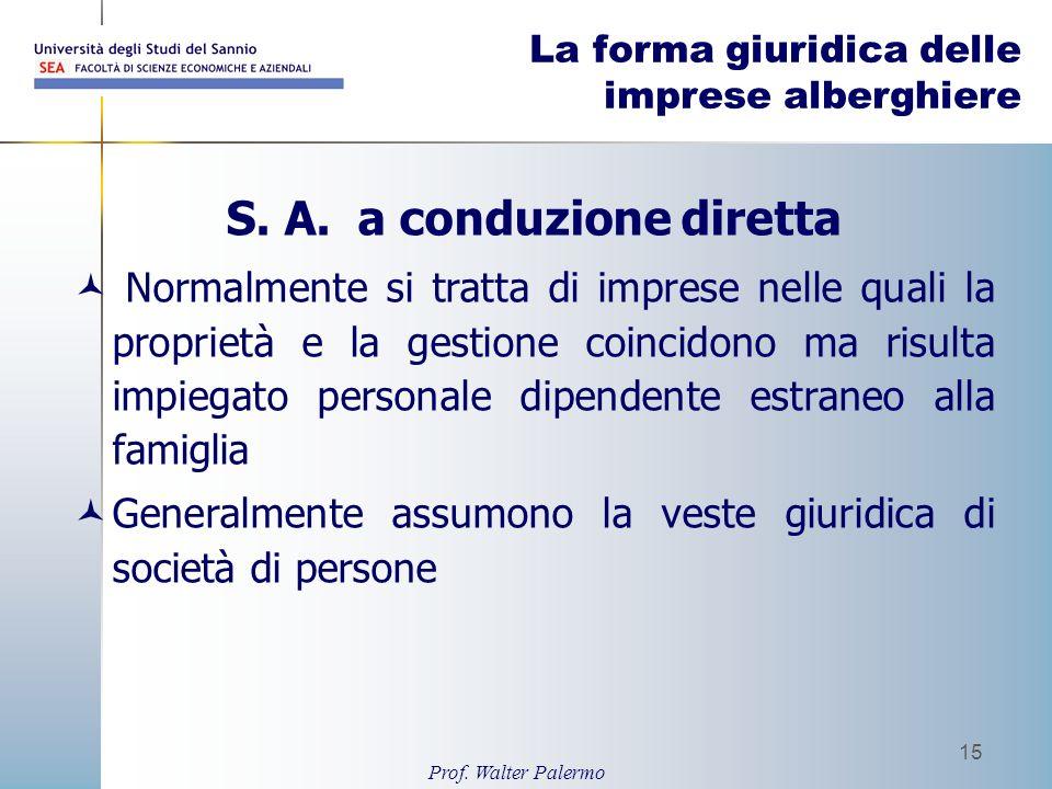 Prof. Walter Palermo 15 La forma giuridica delle imprese alberghiere S. A. a conduzione diretta Normalmente si tratta di imprese nelle quali la propri