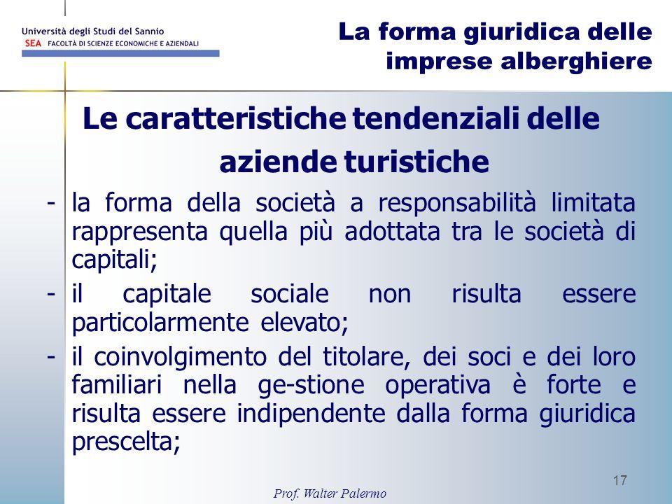 Prof. Walter Palermo 17 La forma giuridica delle imprese alberghiere Le caratteristiche tendenziali delle aziende turistiche -la forma della società a