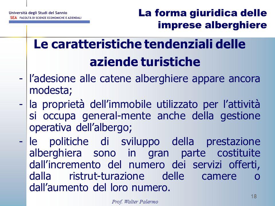 Prof. Walter Palermo 18 La forma giuridica delle imprese alberghiere Le caratteristiche tendenziali delle aziende turistiche -ladesione alle catene al