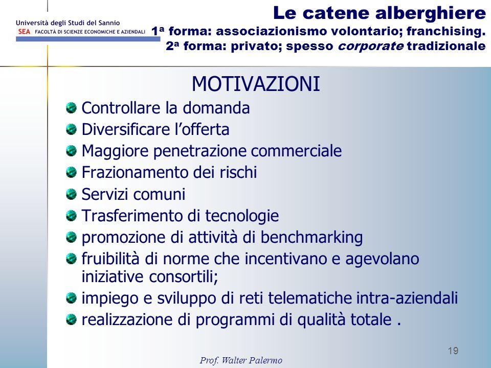 Prof. Walter Palermo 19 Le catene alberghiere 1 a forma: associazionismo volontario; franchising. 2 a forma: privato; spesso corporate tradizionale MO