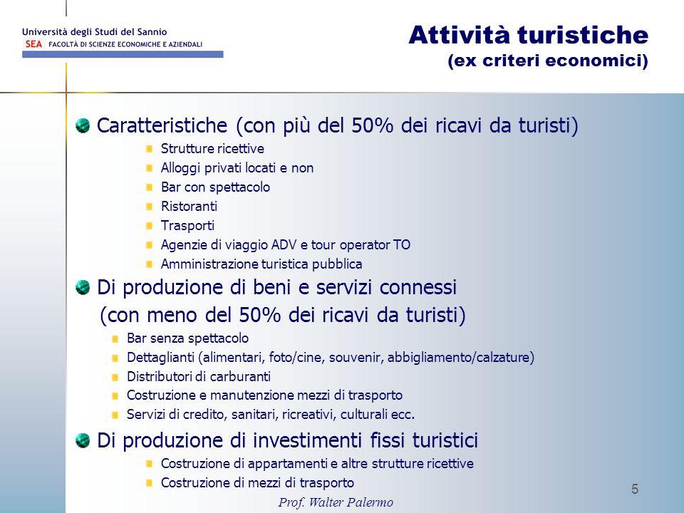 Prof. Walter Palermo 5 Attività turistiche (ex criteri economici) Caratteristiche (con più del 50% dei ricavi da turisti) Strutture ricettive Alloggi