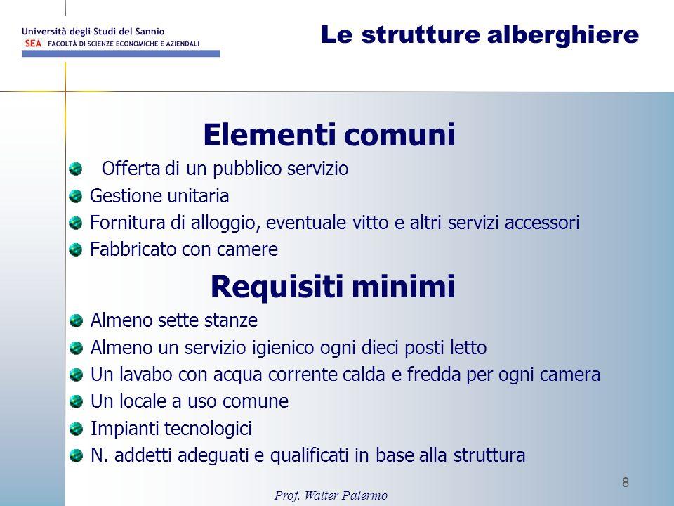 Prof. Walter Palermo 8 Le strutture alberghiere Elementi comuni Offerta di un pubblico servizio Gestione unitaria Fornitura di alloggio, eventuale vit