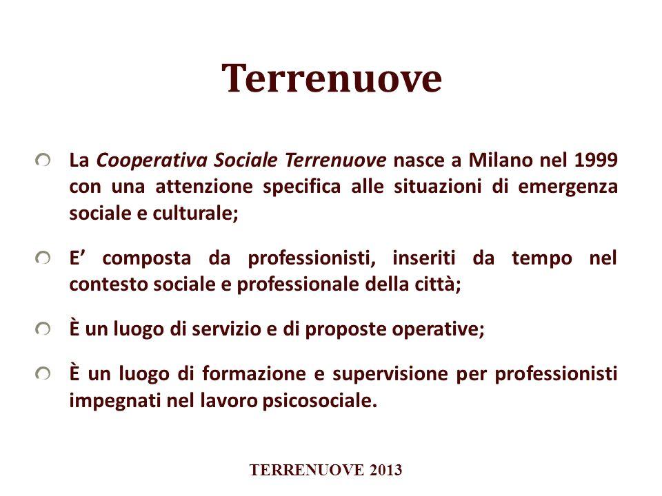La Cooperativa Sociale Terrenuove nasce a Milano nel 1999 con una attenzione specifica alle situazioni di emergenza sociale e culturale; E composta da