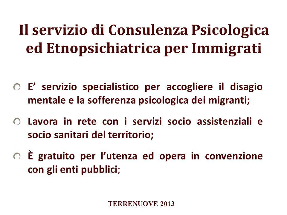 Il servizio di Consulenza Psicologica ed Etnopsichiatrica per Immigrati E servizio specialistico per accogliere il disagio mentale e la sofferenza psi